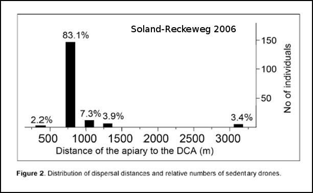 Distribution du nombre de mâles dans la congrégation en fonction de la distance à leurs ruches.